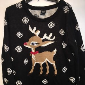 RUE 21 Black  Rudolph Holiday Sweater